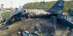 Acidente de avião da Força Aérea dos EUA que saiu da pista de Tegucigalpa.